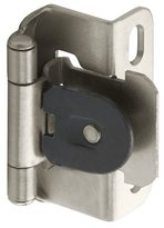 Amerock BP8719G10 Single Demountable Partial Wrap Hinge with 1/2-Inch Overlay, Satin Nickel, 2-Pack by