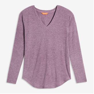 Joe Fresh Women's V-Neck Rib Sweater, Pale Purple (Size XL)
