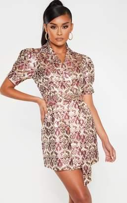 PrettyLittleThing Multi Short Sleeve Jacquard Blazer Dress