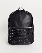 Asos Design DESIGN backpack in black faux leather with studding