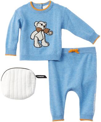 Burberry Bear Intarsia 2Pc Wool & Cashmere-Blend Sweater Set
