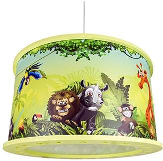 Elobra Children's Ceiling Pendant Light with Wild Jungle Lamp, Wood, green, A + +