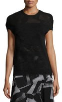 M Missoni Short Dolman-Sleeve Ribbed Top, Black