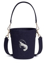 Angel Chen Small mythical creature embroidered denim bucket bag