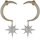 Noir Crescent Moon and Starburst Drop Earrings
