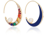 Noor Fares Navratna Large Moon Tribal Earrings in Yellow Gold with Various Coloured Stones & Diamonds