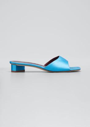 STAUD 25mm Asymmetric-Heel Satin Slide Sandals