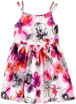 Gymboree White Tropical Floral Sleeveless A-Line Dress - Girls