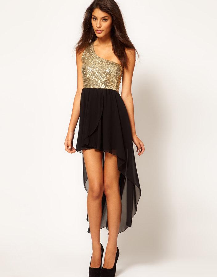 Asos One Shoulder Dress in Sequin with High Low Hem