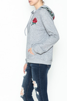 Honey Punch Floral Embroidered Hoodie