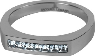 Jacques Lemans S-R50B52 Ring Solid Stainless Steel with Sparkling Swarovski Crystals Size 52 / M 1/2