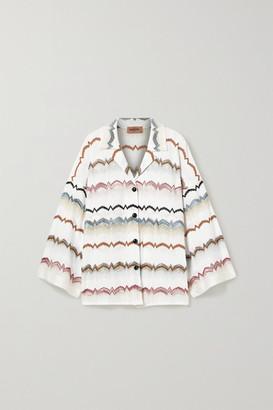 Missoni Oversized Striped Crochet-knit Cotton-blend Shirt - White