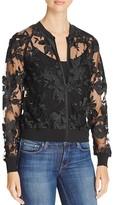 T Tahari Britney Embroidered Mesh Bomber Jacket