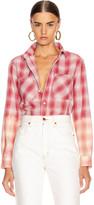 Amiri Ombre Lurex Plaid Flannel in Red | FWRD