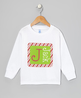 Swag White Candy Cane Square Personalized Tee - Toddler & Boys