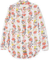 Equipment Essential Floral-print Washed-silk Shirt - White