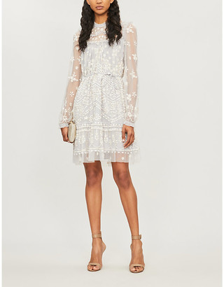 Needle And Thread Esme Floral-Embroidered Chiffon Dress