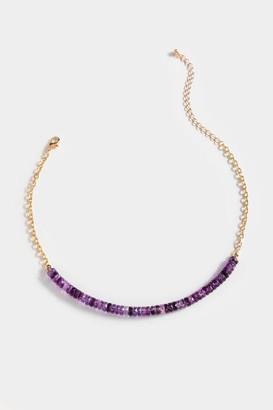 francesca's Cam Amethyst Beaded Choker - Purple