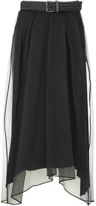 Brunello Cucinelli Crispy silk full long skirt with belt black