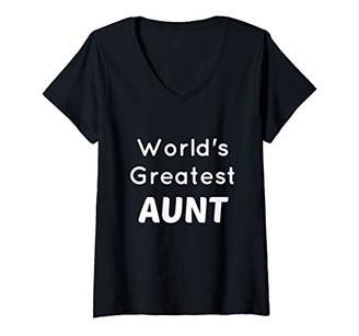 Womens Greatest Aunt Shirt New Auntie Gift for Awesome Aunt to Be V-Neck T-Shirt