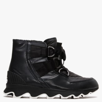 Sorel Kinetic Black Leather Short Lace Ankle Boots