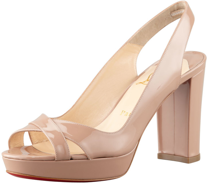 Christian Louboutin Marpolo Patent Red Sole Slingback, Nude