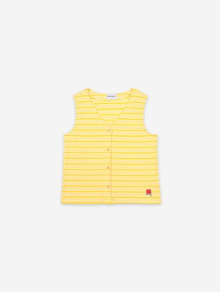Bobo Choses Sleeveles Tulip Embroidery Buttoned Vest - M