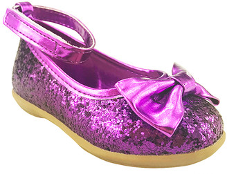 The Doll Maker Girls' Mary Janes Purple - Purple Sequin Bow Ankle-Strap Ballet Flat - Girls