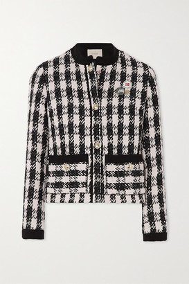 Maje Vicky Houndstooth Cotton-blend Tweed Jacket - Black
