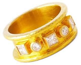 Elizabeth Locke 19K Yellow Gold & Diamond Straight Cigar Band Ring