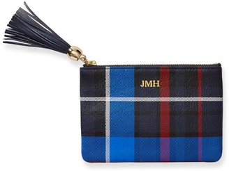 Mark And Graham Leather Zip Tassel Pouch, Plaid
