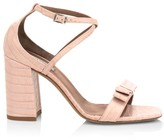 Tabitha Simmons Hudson Croc-Embossed Leather Block-Heel Sandals
