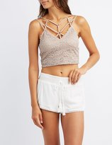 Charlotte Russe Lace Caged Crop Top
