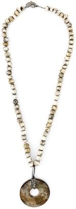 Loree Rodkin Diamond Stone Disc Lariat Necklace