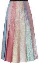 Gucci Pleated Lamé Midi Skirt - Pastel pink