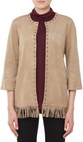 Allison Daley Stud Embellished Open Front Faux Suede Jacket