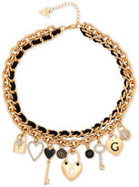 GUESS Gold-Tone Pavé Charms Woven Faux Suede Statement Necklace