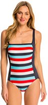 Tommy Hilfiger Slide Stripe Square Neck Tank One Piece Swimsuit 8142673