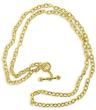 Elizabeth Locke Gold Orvieto Hammered 19K Yellow Gold Small Oval-Link Chain Toggle Necklace