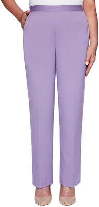 Alfred Dunner Misses Short Loire Valley Womens Straight Pull-On Pants