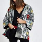 River Island Womens Silver floral sequin embellished kimono