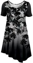 Azalea Silver & Black Floral Crewneck Tunic - Plus Too