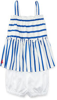 Ralph Lauren Smocked Striped Poplin Top w/ Bloomers, Blue/White, Size 9-24 Months