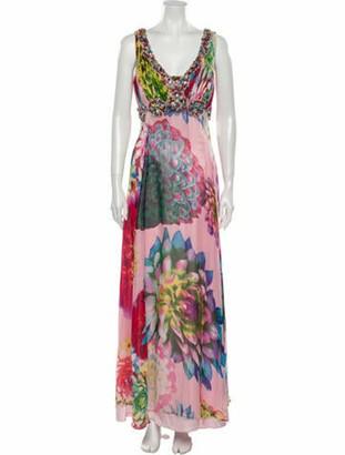 Jovani Printed Long Dress Pink