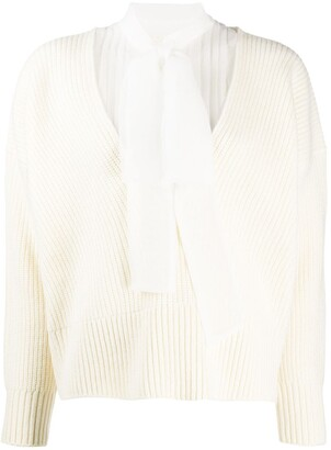 Sacai Ribbed Knit Tie Neck Jumper