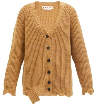 Marni Oversized Distressed Wool Cardigan - Camel