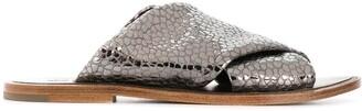 Brunello Cucinelli Lizard-Effect Metallic Sliders