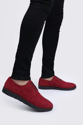 BoohoomanBoohooMAN Mens Red Faux Leather Crepe Sole Lace Up, Red