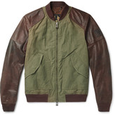 Belstaff Stradbrooke Leather And Washed-cotton Canvas Jacket