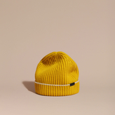 Burberry Ribbed Cashmere Beanie With Border Detail, Yellow